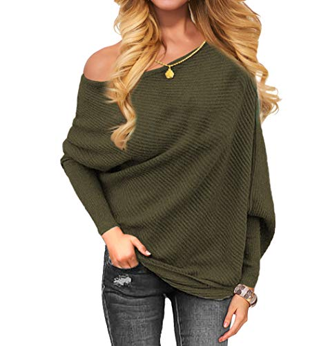 VOIANLIMO Women's Off Shoulder Knit Jumper Long Sleeve Pullover Baggy Solid Sweater (Large, Dark Olive)