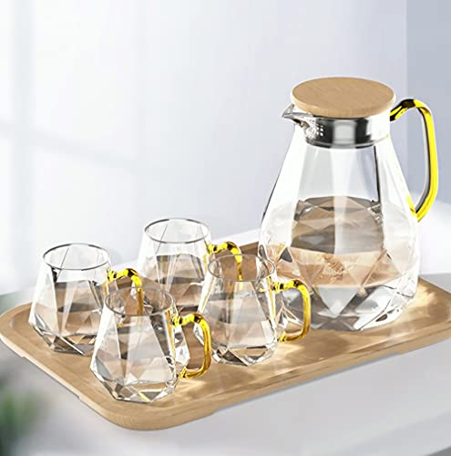 DUJUST Jarra de vidrio de 2 litros con 4 tazas y 1 bandeja de bambú, diseño moderno de diamantes, hermosa decoración para sala de estar, jarra de vidrio de alta durabilidad, resistente al frío/calor
