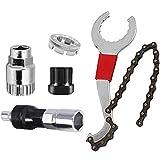 YUIP Kits de Herramientas de Reparacion de Bicicleta y Bicicletas de montaña, Kit de reparación de Bicicleta Multifuncional con látigo de Cadena Compatible 5-11 con Extractor de piñón Extractor