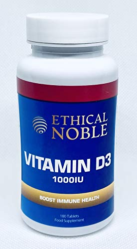 Vitamin D 1000IU - 180 Tablets - For The Maintenance of a Normal Immune System - 6 Months Supply - UK Made