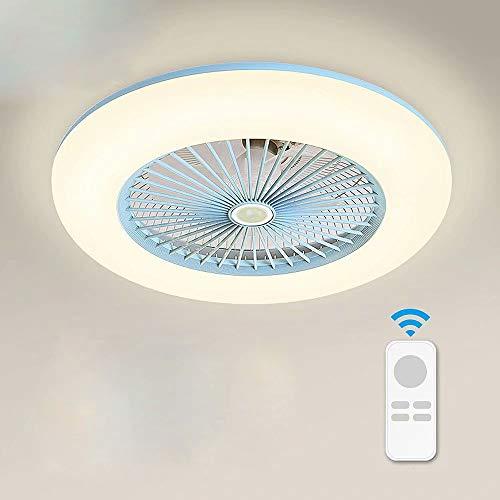 Luz de ventilador para el hogar luz de ventilador de techo led lámpara de ventilador de techo invisible lámpara de araña para comedor accesorios de iluminación ultrafinos, ajuste de tiempo, 40 W