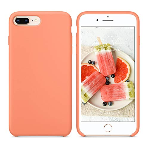 SURPHY Silicone Case Compatible with iPhone 8 Plus Case iPhone 7 Plus Case, Soft Liquid Silicone Rubber Slim Phone Case Cover with Microfiber Lining for iPhone 7 Plus iPhone 8 Plus 5.5', Peach