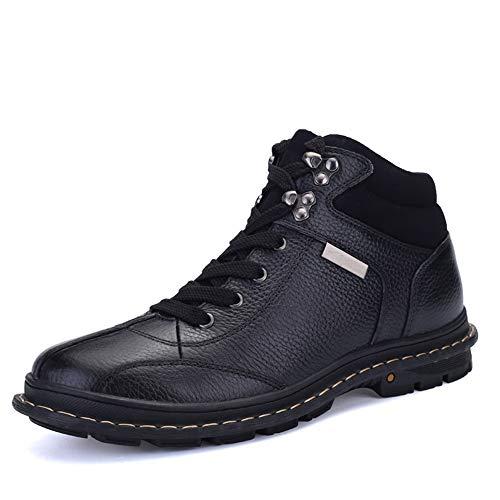 JISHIYU Hombres con Estilo de Las Botas del Tobillo Diario cómodo y de Alta Superior con Botas de Terciopelo de Trabajo (Color : Negro, Size : 37 EU)