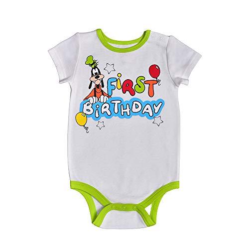 Disney Baby Boy's Goofy Short Sleeve 1st Birthday Bodysuit Onesie, Grey/White, 18 Months