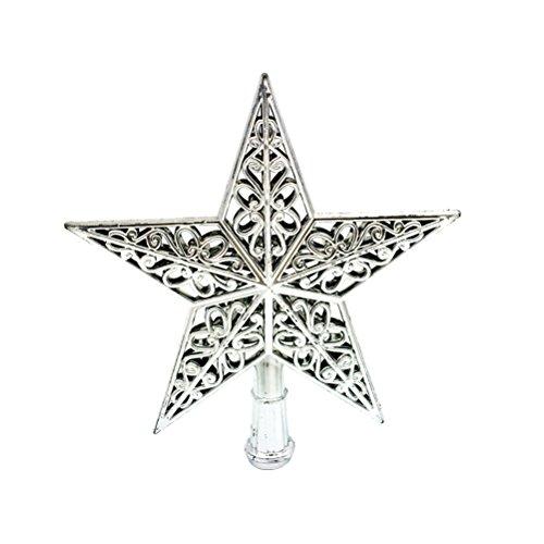 Tinksky Weihnachtsbaumspitze Stern Baumschmuck Glitzernde (Silber)