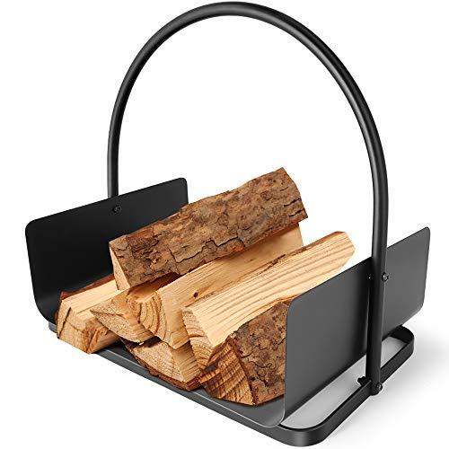 Amagabeli Holzkorb Kaminholz 45 x 30 x 43cm Kaminholzkorb Brennholzkorb Metall Feuerholzkorb Holzwiege Kamin aus Stahl mit Henkel Tragekorb für Holz Kaminholz Holztrage für Holzofen Kaminholzschale