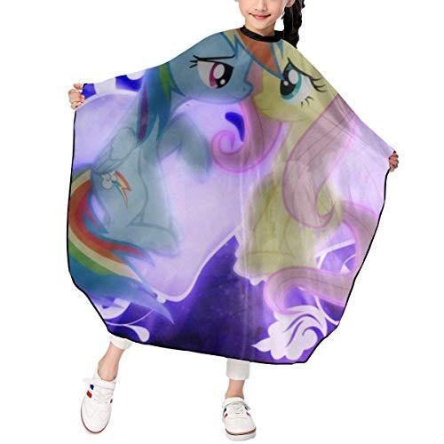 Barber Cape,Arte De Pintura De Dibujos Animados My Rainbow Pony Capa De Peluquería Para Niños, Capas De Peluquería Suaves Y Cómodas Para Uso Profesional En El Salón,120x100cm