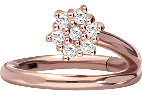 PIERCINGLINE Chirurgenstahl Segmentring Clicker   Kristallblume   Piercing Ohr Lippe Ring Helix   Farb & Größenauswahl
