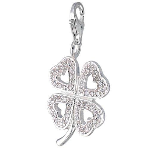 Corazón MELINA encanto del trébol White plata Zirconia 925 1801846