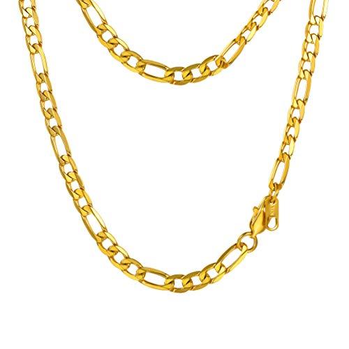 PROSTEEL Collana Catena Figaro 6 mm di Larghezza 50 cm Lunghezza Oro Acciaio Inossidabile