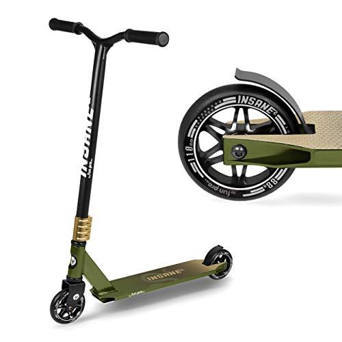 fun pro Insane2, Stunt Roller hasta 100 kg, ABEC9, HIC, ruedas de 110 mm con núcleo de aluminio, distribuidor de Hamburgo (Stunt Fun Trick Scooter) (Jungle)