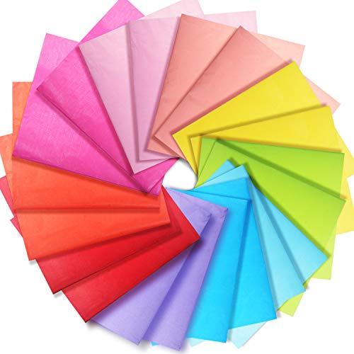 Larcenciel Seidenpapier,100 Blatt mehrfarbiges Seidenpapier Geschenkpapier Geschenkpapierblätter für dekoratives Seidenpapier von Art Craft,10 Farben, 26 × 20 Zoll (66 × 50 cm)