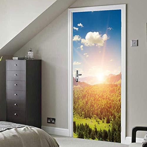 Pegatina para puerta, pegatina extraíble, estilo paisaje para ampliar el espacio visual interior Muebles Gabinete de cocina Puertas planas para decoración del hogar