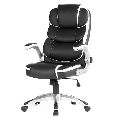 KERMS Ergonomic Office Chair, Adjustable Executive Home Desk Computer Chair with Lumbar Support and Flip up Arms (Black)