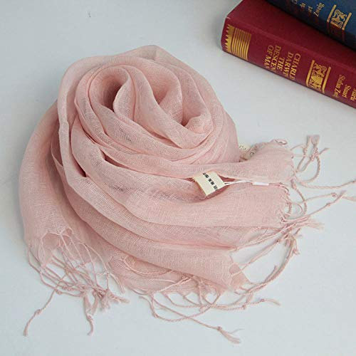 Linen scarf female Japanese thin style tassel pure color travel sunscreen art long shawl scarf-Xueya