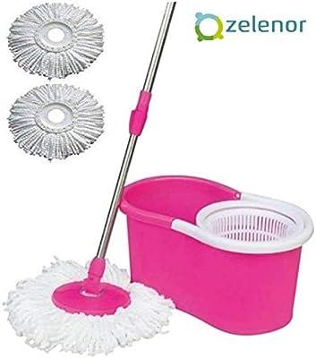 Zelenor Magic Dry Bucket Mop-360 Degree Plastic Spinner with Super Absorbers-Multicolor Bucket Mop Set