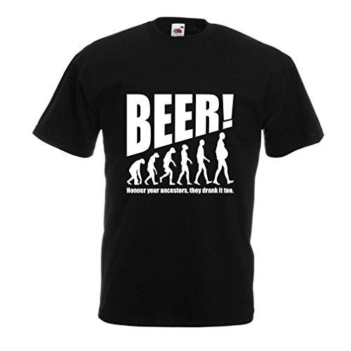 lepni.me Camisetas Hombre The Beervolution - Ideas Divertidas únicas sarcásticas del Regalo para los Amantes de la Cerveza, evolución de consumición (XX-Large Negro Blanco)