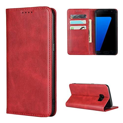 Copmob Cover Samsung Galaxy S7 Edge,Premium Flip Portafoglio Custodia in Pelle,[3 Slots][Supporto Stand][Chiusura Magnetica],Custodia Cover per Samsung Galaxy S7 Edge - Rosso