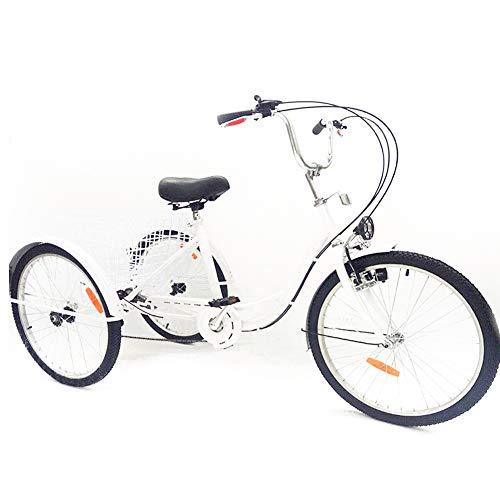 SHIOUCY Dreirad Erwachsene mit Korb 24 Zoll, 3 Räder Dreirad mit Lampe, Korb Dreirad Pedal Warenkorb Lastenfahrrad