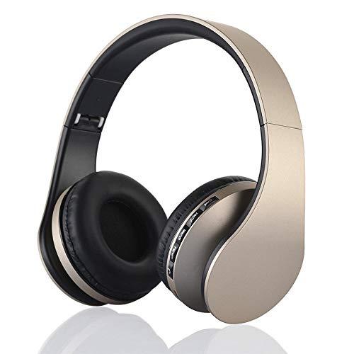 SFBBBO Auriculares Auriculares Bluetooth estéreo inalámbricos de Alta fidelidad con micrófono, Soporte para Tarjeta TF, Auriculares con Radio FM Dorado