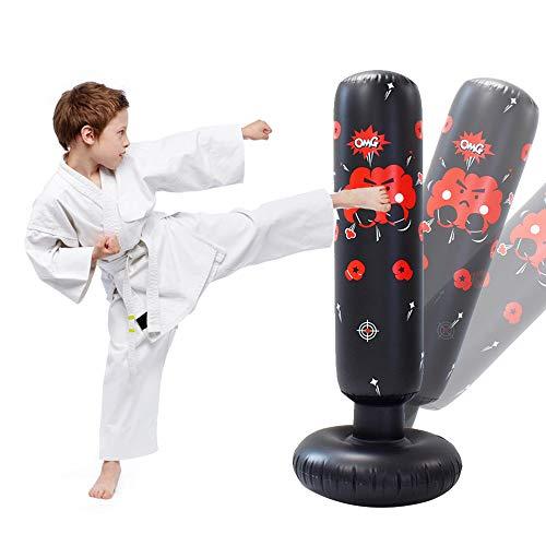 JanTeelGO Punching-Ball 120cm, Sac Gonflable de Boxe pour Enfants, Sac de Frappe Remise en Forme à Rebond immédiat, pour la Pratique du karaté Taekwondo MMA (Noir-E, 120cm)