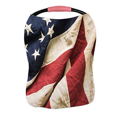 Affordable PKQWTM Old American Flag Memorial Day 4Th July Dependence Day Nursing Cover Baby Breastfe...