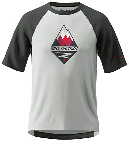 Zimtstern PureFlowz Shirt SS, Maglietta MTB Uomo, Grigio Glacier/Gun Metalli/Cyber Red, XL
