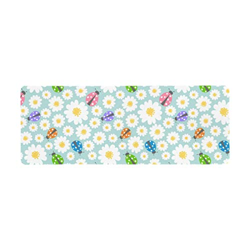 InterestPrint Soft Extra Extended Large Gaming Mouse Pad with Stitched Edges, Desk Pad Keyboard Mat, Non-Slip Base for Office & Home, 31.5 x 12In - Cute Ladybug Ladybird with Daisy Flowers