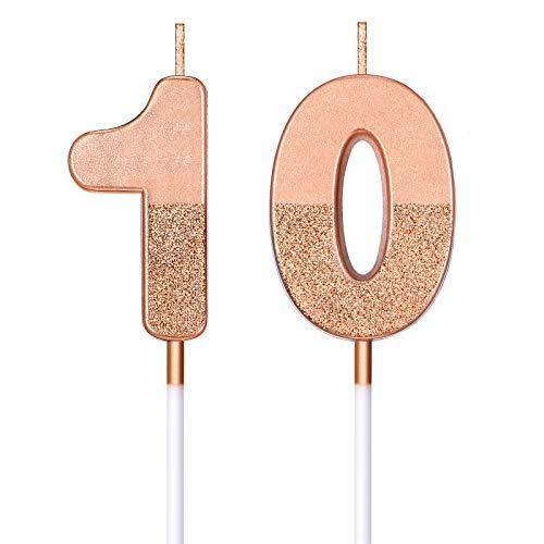 BBTO Candele di Compleanno 10 Glitter Candele di Numero per Torta Topper di Torta di Compleanno 10 Decorazione per Bomboniera di Compleanno Nozze Anniversario Matrimonio, Oro Rosa