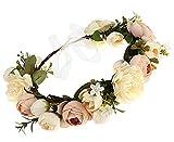 YGSAT Mariage Nuptiale Fleur Couronne Demoiselle d'honneur Florale Guirlande Plage Coiffe avec Ruban Photo Props Couronne de fleur Serre-tête avec ruban réglable/Blanc