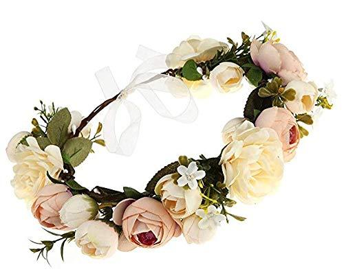 YGSAT Damen Blumenstirnband Blumenkrone Blumenkranz für Muttertag Hochzeit Party Strand -Champagner