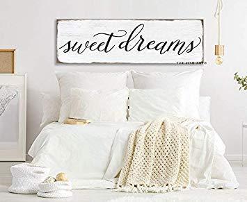 Ced454sy Gift 15x50cm Sweet Dreams Slaapkamer Teken Doek Teken Boerderij Decor Inspirational Wall Art Slaapkamer muur Aangepaste Kleuren Muurdecoratie Teken voor Boven Bed Rustiek