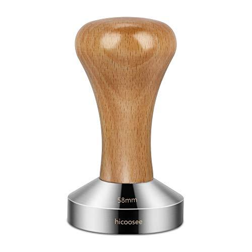 hicoosee Café Tamper, 58mm Tamper de Acero Inoxidable para Café Exprés Prensador para Café Base Plana