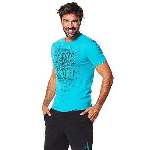 Zumba Fitness Let It Move You tee Camiseta, Hombre, Azul, M