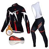ZQD Juego de ropa de ciclismo de hombres Juego de manga larga de invierno Kit de camiseta de bicicleta, más terciopelo, ropa de montar a caballo + pantalones de ciclismo con camisa de bicicleta de coj