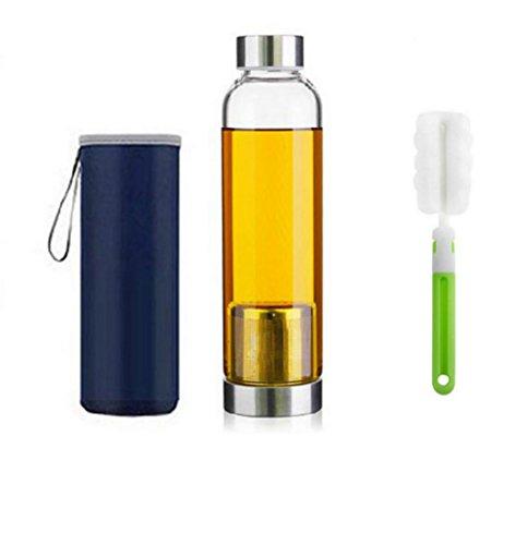 550ml Bottiglia del tè portatile ed elegante vetro con filtro in acciaio inox carrello da tè del setaccio di Infuser portatile teiera di vetro - Per Brewing Hot & Tè freddo, spazzola bottiglia (Blue)