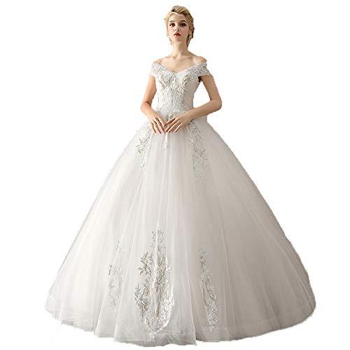 Vestido de novia vestido de novia Estilo De Múltiples Capas, Elegante Y Exclusivo Diseño De Damas Fuera Del Hombro Apliques De Encaje Floral Hasta El Suelo Vestido De Fiesta Vestido De Novia