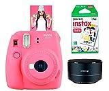 Fujifilm INSTAX Mini 9 Rosa Kit con Altavoz Swiss+GO Bluetooth y Carga para 10 Fotos instax. (Rosa)