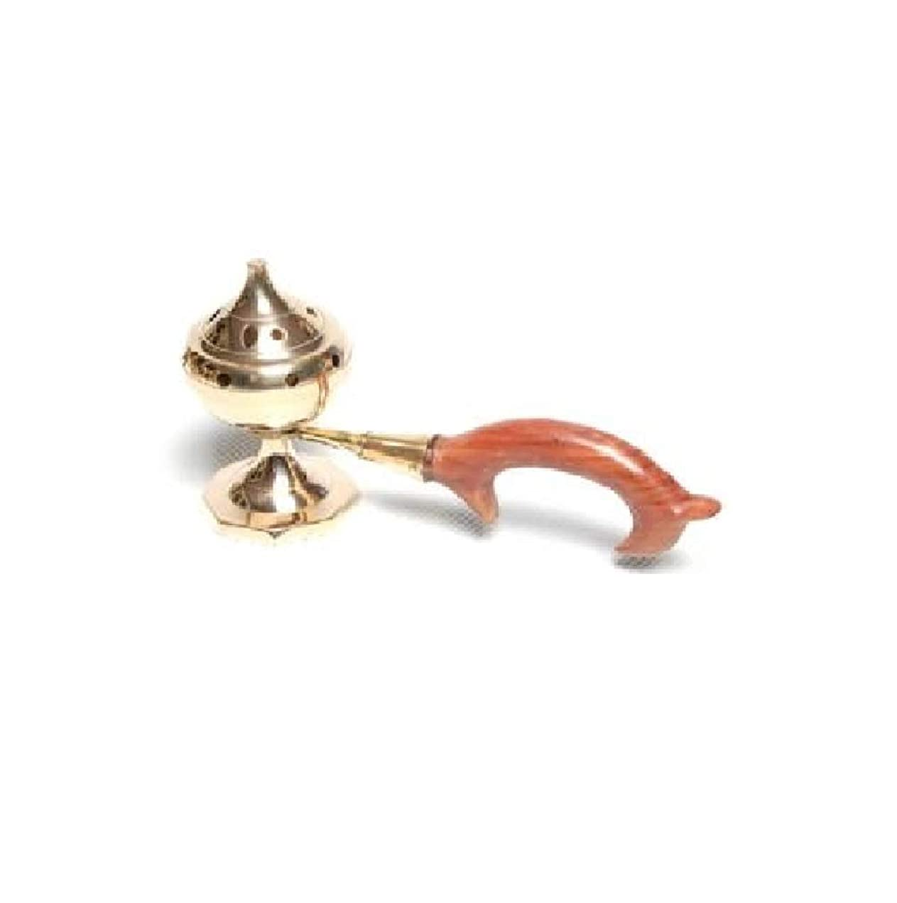 世辞平方厚くするAccessories - Brass Burners Incense Burner with Wood Handle by Accessories - Brass Burners