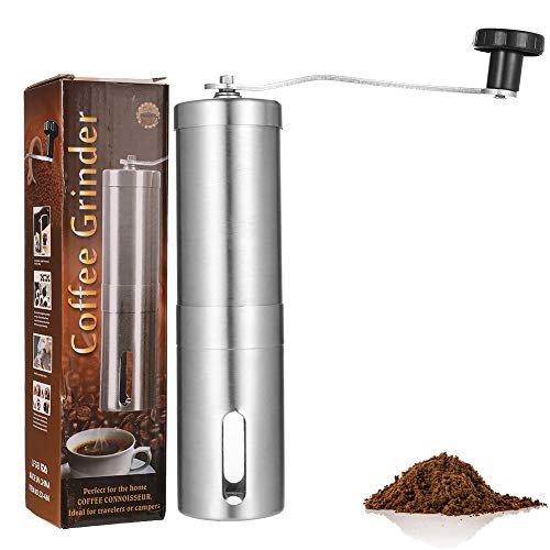metagio 1 Pack Manual Coffee Grinder, Burr Coffee Grinder Stainless Steel with Adjustable Ceramic Conical Burr, Hand Crank Mill, Compact Size Perfect for Your Home, Office or Travelling (Silver)