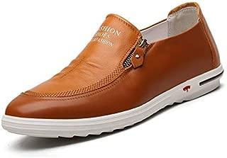 JAUROUXIYUJI Men's Air Cushion Running Shoes Men's Casual Genuine Leather Shoes White Shoes (Color : Yellow, Size : 41 EU)