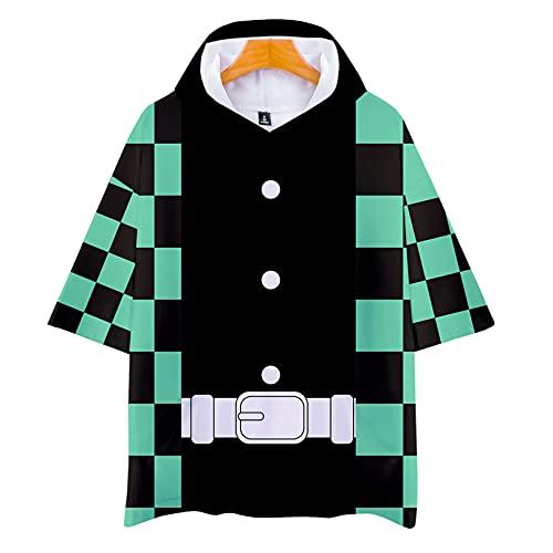 FMBK666 Camiseta con Capucha Demon Slayer Kamado Tanjirou/Agatsuma Zenitsu/Tomioka Giyuu Camiseta Deportiva de Manga Corta con Estampado 3D para Mujer Camiseta Superior Pullover