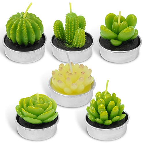 LA BELLEFÉE Tealight Cactus Candles, Delicate Succulent Handmade Cute Mini Plants Candles for Party Wedding Home Decoration Gifts Wedding Props 6 Pack Gifts Set