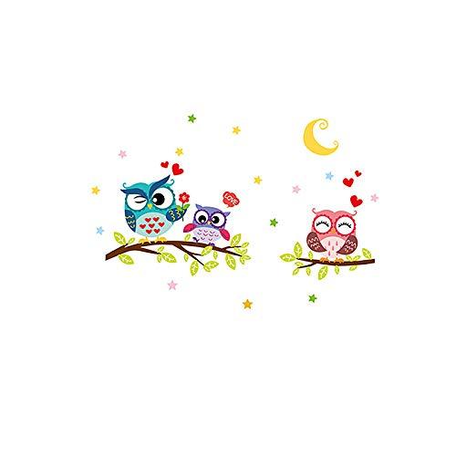 OuYou Dibujos Animados con Familia búho Ramas Luna y Estrellas Vinilo Pegatinas Decorativas Adhesiva Pared Dormitorio Salón Guardería Habitación Infantiles Niños Bebés (32 * 40CM)