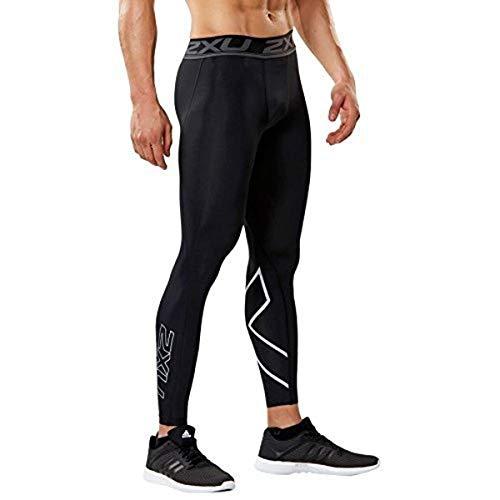 2XU Men's Accelerate Compression Tights, Black/Silver, Medium