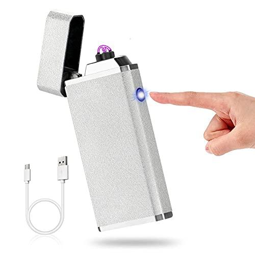 Gohytal Mechero electrónico USB, encendedor de arco eléctrico, pantalla táctil, LED, arco de luz, resistente al viento, electrónico, para hombres y mujeres, regalo (plata mate)