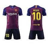 T-Shirt De Football, Combinaison De Sport, Maillot De Barcelone, Vêtement De Sport De Football N ° 10 Messi, T-Shirt De Football pour Garçon, Convient Aux Adultes Et Aux Enfants