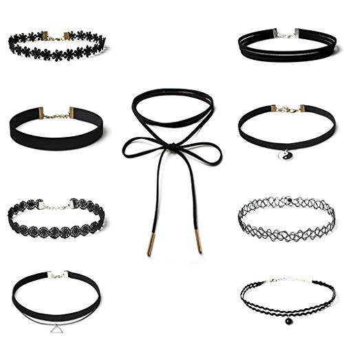 Collar de 9pcs Negro Gargantilla Collares de Las Mujeres del cordón del tercio Gargantilla Gargantilla Conjunto clásico con Encanto