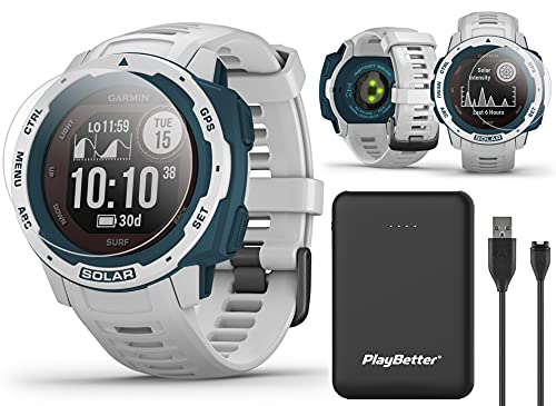 Garmin Instinct Solar Surf (Cloudbreak) GPS Outdoor Smartwatch Power Bundle | with PlayBetter Power Bank Charger (Large) & HD Screen Protectors | Surf Watch Gear | Tide Data, Heart Rate | 010-02293-18