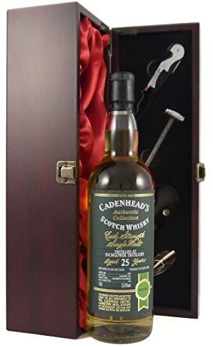 Inchgower Cask Strength 25 year old Single Malt Whisky 1989 Cadenhead's Authentic Collection in einer Geschenkbox, da zu 4 Wein Accessoires, 1 x 700ml